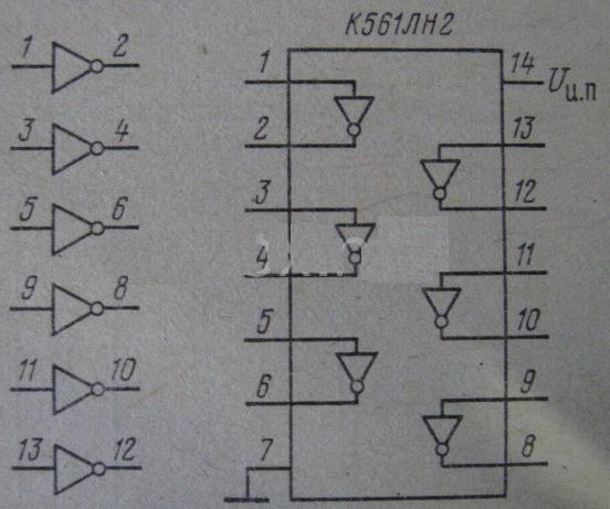 Цоколевка и схема К561ЛН2.