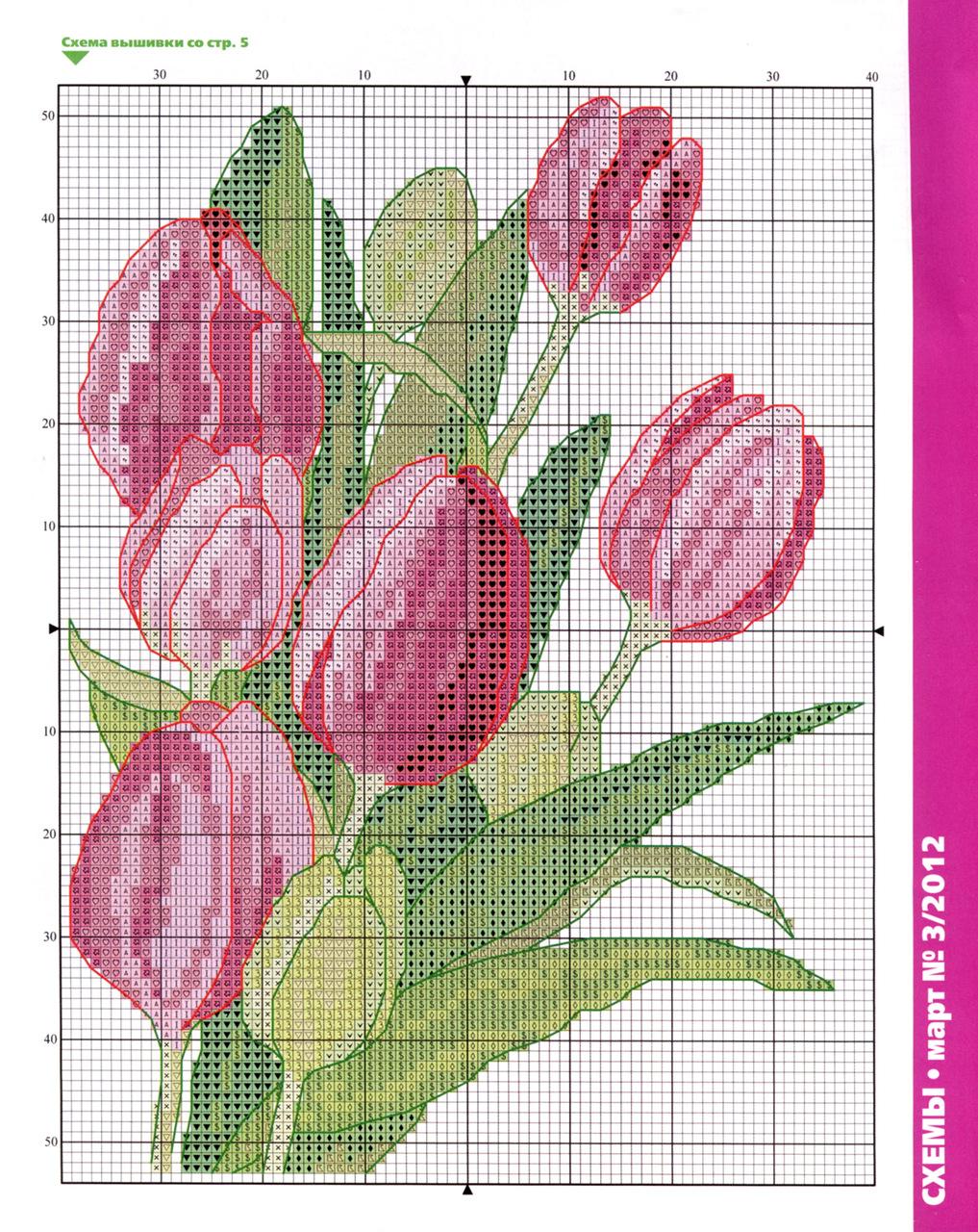 Схемы вышивок крестом тюльпанов