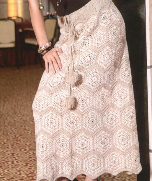 Длинные юбки связанные крючком и схемы к ним